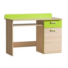 TEMPO KONDELA PC stôl, jaseň/zelený, EGO L10