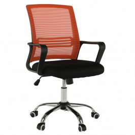 TEMPO KONDELA Kancelárska stolička, sieťovina oranžová/látka čierna, APOLO