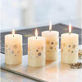 Voskové sviečky Snehová vločka, 4 kusy