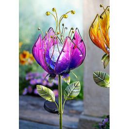 Solárny záhradný zápich Snový kvet, fialový
