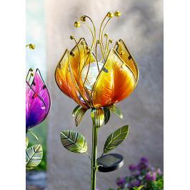 Solárny záhradný zápich Snový kvet, žltý