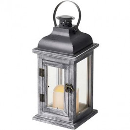 EMOS LED dekorácia – lampa drevená, 2× AA, sivá, vintage