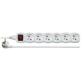 EMOS Predlžovací kábel s vypínačom – 6 zásuviek, 2 m, biely