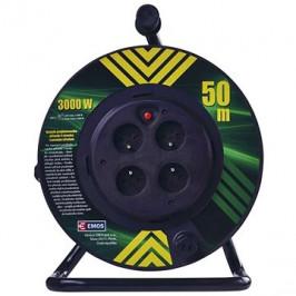 EMOS PVC kábel na bubne s pevným stredom – 4 zásuvky, 50 m, 1,5 mm2