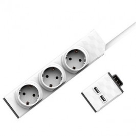 Allocacoc Set PowerStrip Modular Switch 1,5 m + USB modul