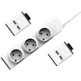 Allocacoc Set PowerStrip Modular Switch 1,5 m + 2× USB modul