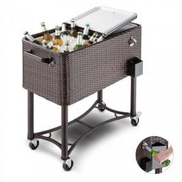 Blumfeldt Springbreak 2000, vozík na nápoje, chladiaci vozík na terasy, 80 l, ratanový dizajn