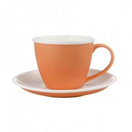 TORO Šálka s podšálkou, porcelán, oranžový mat