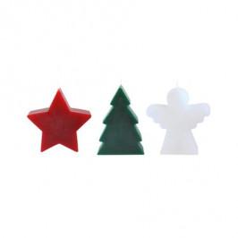 TORO Set 3 ks vianočných sviečok - stromček, anjel, hviezda