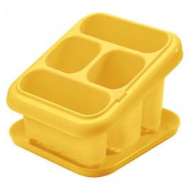 Tontarelli Plastový odkvapkávač na príbory s podnosom TONTARELLI žltý