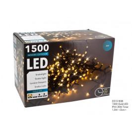 HIT Vianočná svetelná reťaz 1500 LED IP44 30m s časovačom