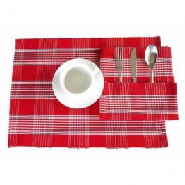 Forbyt, ľan, bavlna, mesh, červená  40 x 120 cm