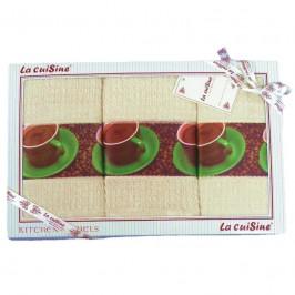 Forbyt, Darčekové balenie 3 ks bavlnených utierok, šálka zo srdce, béžovo-smotanovej, 50 x 70 cm