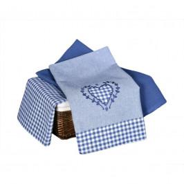 Forbyt, Utierka bavlnená, Káro s čipkou komplet 3 ks, modrá