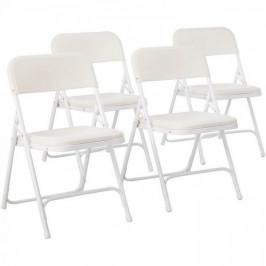 Skladacie čalúnené stoličky, 4 ks, biele