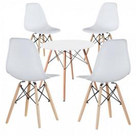 4 ks moderných jedálenských stoličiek so stolom, viac farieb