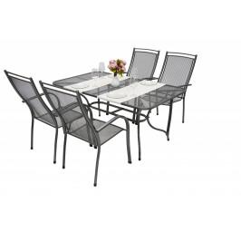 Unikov Záhradná kovová zostava ELTON I. 1+4 Stôl obdĺžník 145x90 cm