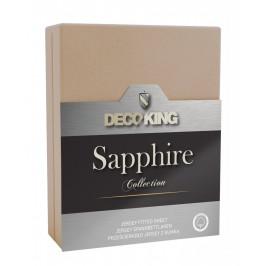 Bavlněné jersey prostěradlo s gumou DecoKing Sapphire béžové
