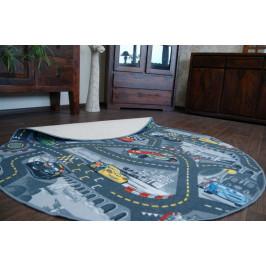 Detský guľatý koberec CARS sivý