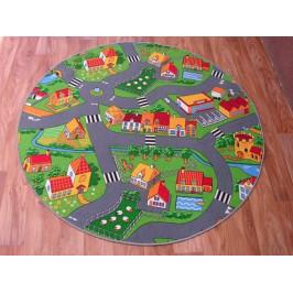 Detský guľatý koberec City sivo-zelený