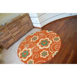 Detský guľatý koberec Flowa oranžový