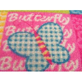 Detský koberec Butterfly & Flowers ružový