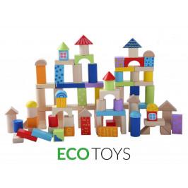 Drevené kocky EcoToys 100 ks