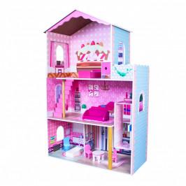 Dřevěný domeček pro panenky EcoToys Biba růžový + nábytek