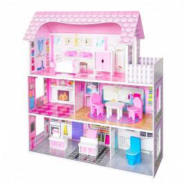 Dřevěný domeček pro panenky EcoToys Mia růžový + nábytek