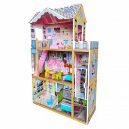 Dřevěný domeček pro panenky s výtahem EcoToys + nábytek