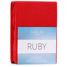Froté prostěradlo s gumou AmeliaHome Ruby červené