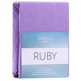 Froté prostěradlo s gumou AmeliaHome Ruby fialové