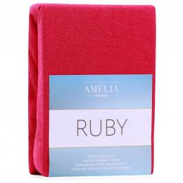 Froté prostěradlo s gumou AmeliaHome Ruby kaštanové