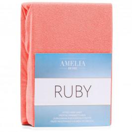 Froté prostěradlo s gumou AmeliaHome Ruby korálové