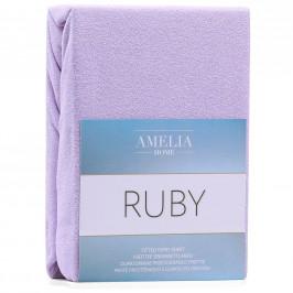 Froté prostěradlo s gumou AmeliaHome Ruby lila