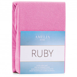 Froté prostěradlo s gumou AmeliaHome Ruby růžové