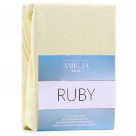 Froté prostěradlo s gumou AmeliaHome Ruby světle žluté