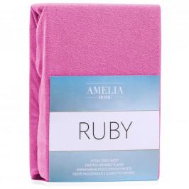 Froté prostěradlo s gumou AmeliaHome Ruby sytě růžové
