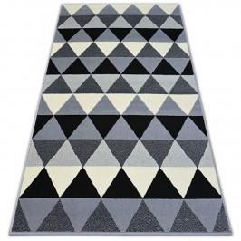 Kusový koberec BCF BASE TRIANGLES 3813 trojúhelníky černý/šedý