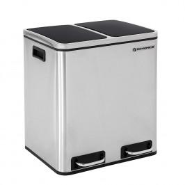 Odpadkový kôš 2 × 15 L strieborno-čierny