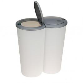 Odpadkový koš Matteo 2x25 L bílo-šedý