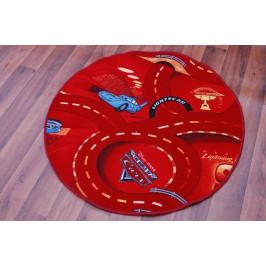 Detský guľatý koberec CARS červený