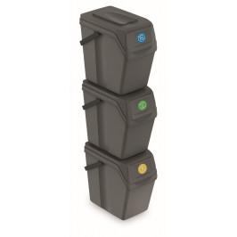 Sada 3 odpadkových košů COMPO II 3x25L šedý kámen