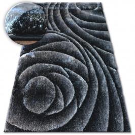 Kusový koberec Shaggy SPACE 3D ROSS tmavosivý/čierny