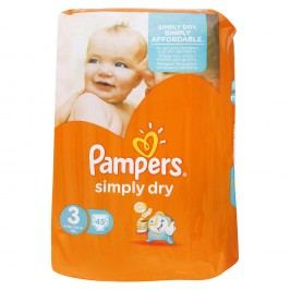 Pampers - SIMPLY DRY 3 MIDI (4-9kg) 45ks